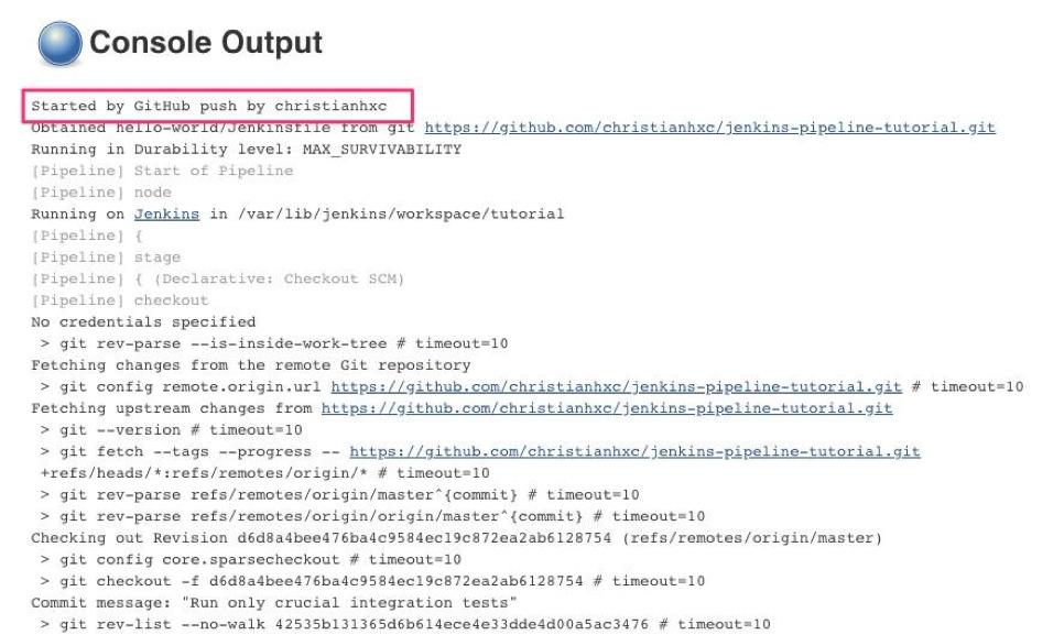 Jenkins Github Console Output