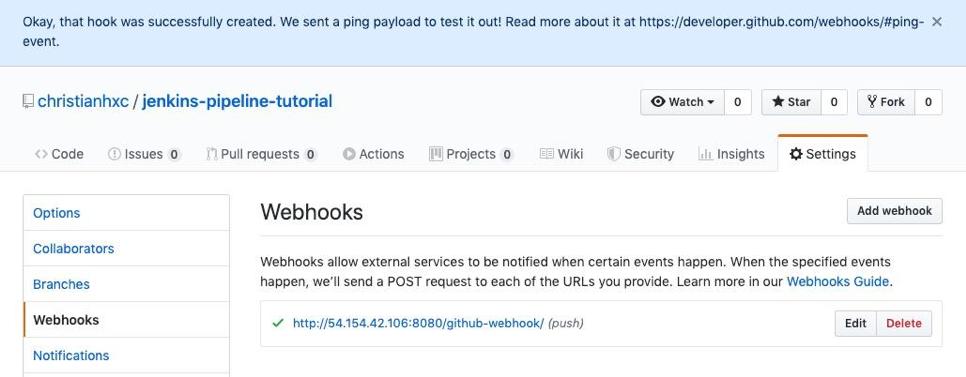 Jenkins Github Webhook Button Successful