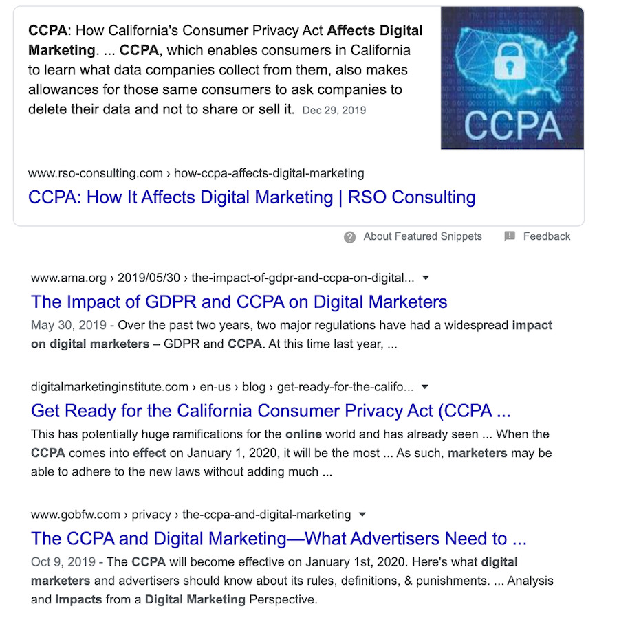 Google organic featured snippet